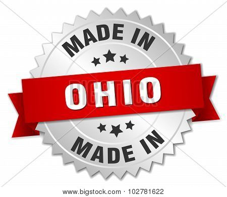 Made In Ohio Silver Badge With Red Ribbon
