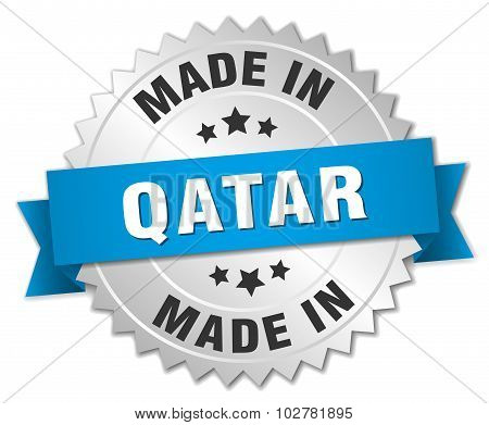 Made In Qatar Silver Badge With Blue Ribbon