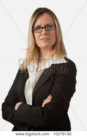 Blond Business Woman With Eyeglasses