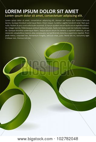Abstract vector background for brochure or poster with four linked circle in 3D perspective