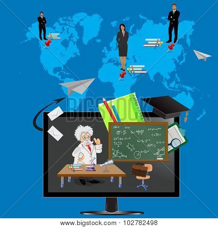 online education, world map, students, professor, equation