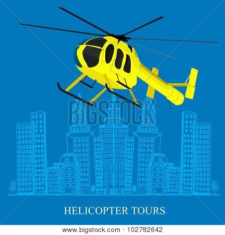 helicopter tour concept, sketch city, vector illustration in flat design for web sites, Infographic