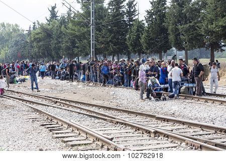 Hundreds Of Immigrants Are In A Wait At The Border Between Greece And Fyrom Waiting For The Right Ti