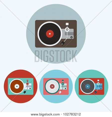 Record Player Colorful Icon Set