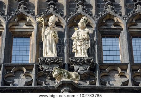 Sculptures Of Old Town Tower On Charles Bridge, Prague, Czech.
