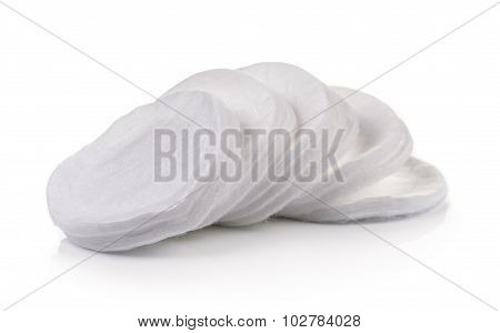 Cotton Round Cosmetic Pads Isolated On White Background