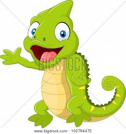 Cartoon green chameleon waving hand isolated on white background