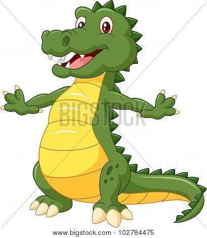 Cartoon happy crocodile isolated on white background