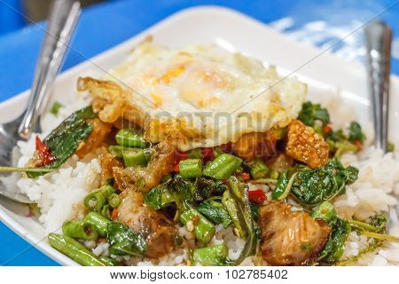 Close Up Steamed Rice Topped With Stir-fried Crisp Pork , Basil And Over Hard Fried Egg,selective Fo