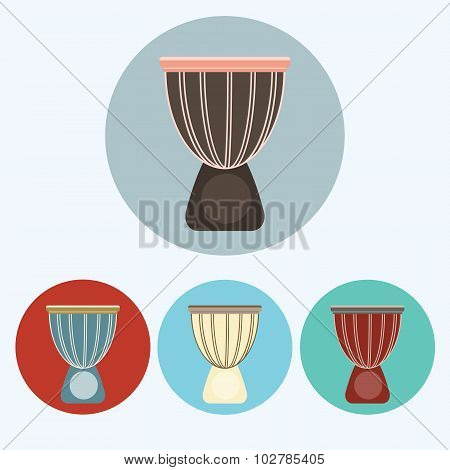 Djembe Colorful Icon Set