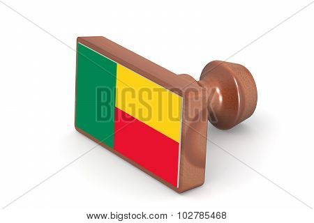 Wooden Stamp With Benin Flag