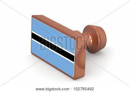 Wooden Stamp With Botswana Flag