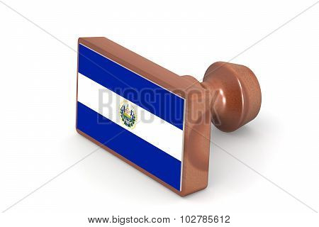 Wooden Stamp With El Salvador Flag