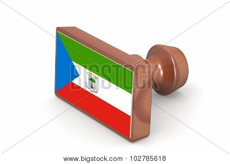 Wooden Stamp With Equatorial Guinea Flag
