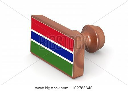 Wooden Stamp With Gambia Flag