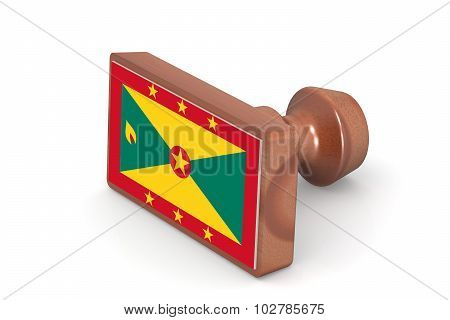 Wooden Stamp With Grenada Flag
