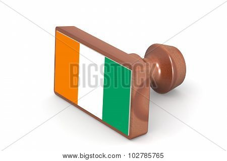 Wooden Stamp With Ivory Coast Flag
