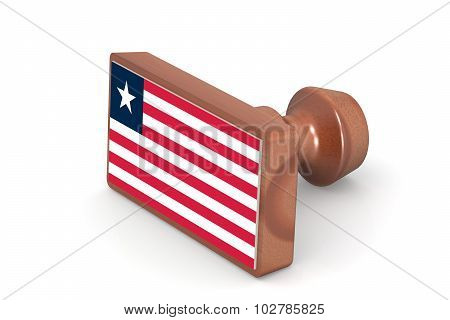 Wooden Stamp With Liberia Flag