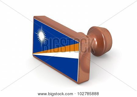 Wooden Stamp With Marshall Islands Flag
