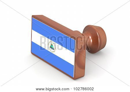 Wooden Stamp With Nicaragua Flag