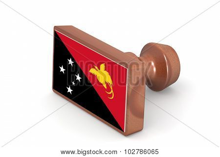 Wooden Stamp With Papua New Guinea Flag