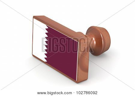 Wooden Stamp With Qatar Flag