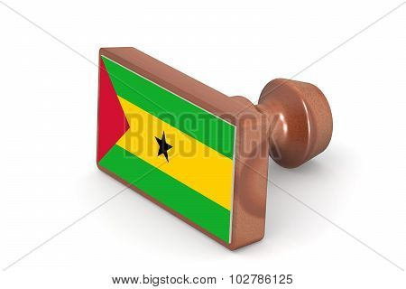 Wooden Stamp With Sao Tome And Principe Flag
