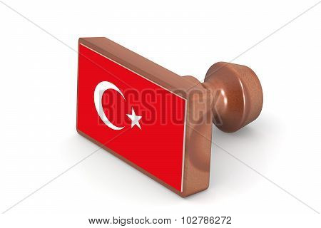 Wooden Stamp With Turkey Flag