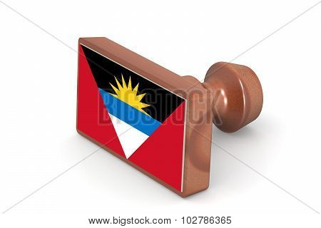 Blank Wooden Stamp With Antigua And Barbuda Flag