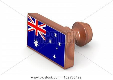 Blank Wooden Stamp With Australia Flag