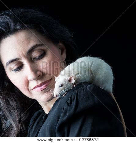 Woman In Black With White Rat