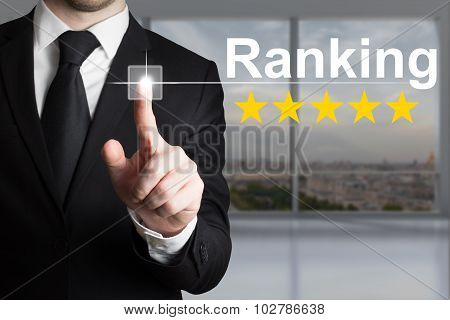 Businessman Pushing Button Ranking Five Rating Stars