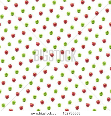 Red And Green Apples With White Background