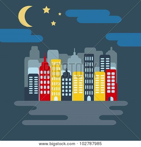 Cityscape With Skyscarpers And Half Moon At Night