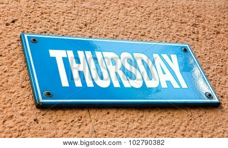 Thursday blue sign