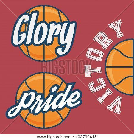 Set of Three Basketball Team Logo with Ball