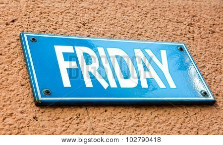 Friday blue sign