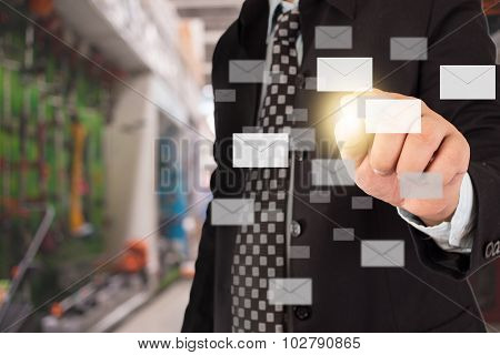 Business Man Sending Email By Using Mobile Phone.