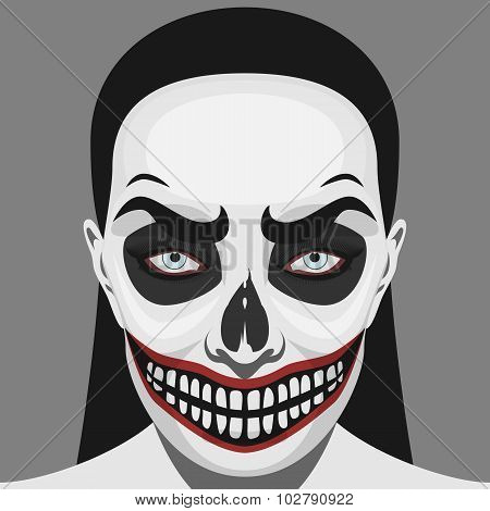 Scary Skull Woman with Halloween Makeup