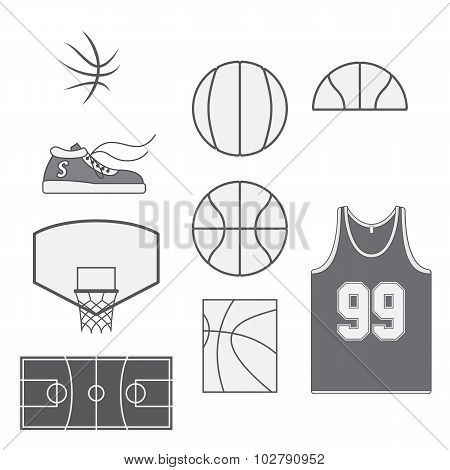 Set of Basketball vintage Design Elements