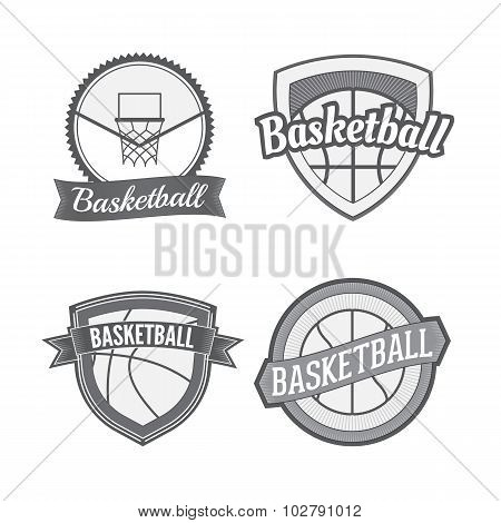 Set of Basketball vintage Labels