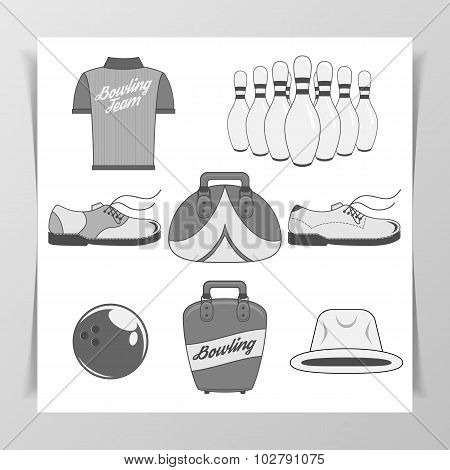 Set of Bowling vintage Design Elements