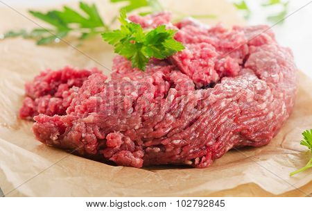 Raw Ground Beef Meat With Fresh Herbs.