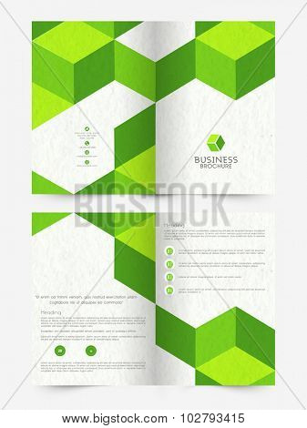 Professional Business Brochure, Flyer or Template presentation decorated with green abstract design.