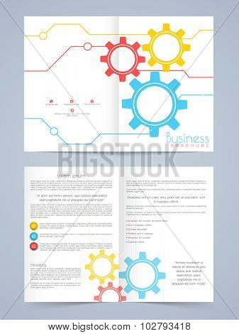 Creative professional Business Brochure, Flyer or Template design with colorful setting icons.