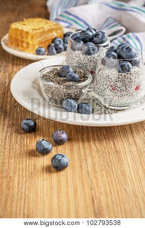 Milk pudding with chia seeds, ripe berries, blueberries and fresh honey