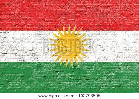 Kurdistan - National flag on Brick wall