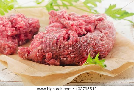 Raw Ground Beef With Fresh Herbs.