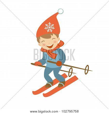 Cute little boy skiing