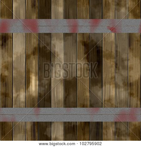 Brown wooden slats reinforced with iron bands. Old color wooden texture